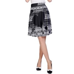 Black and Gray Abstract Hearts A-Line Skirt