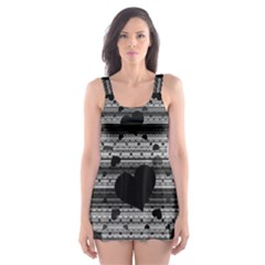 Black and Gray Abstract Hearts Skater Dress Swimsuit