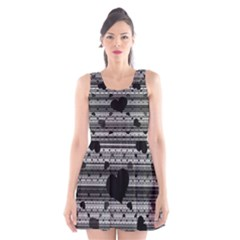 Black and Gray Abstract Hearts Scoop Neck Skater Dress