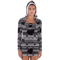 Black and Gray Abstract Hearts Women s Long Sleeve Hooded T-shirt