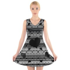 Black and Gray Abstract Hearts V-Neck Sleeveless Skater Dress