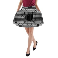 Black And Gray Abstract Hearts A Line Pocket Skirt