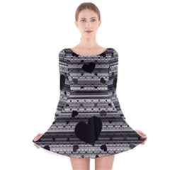 Black and Gray Abstract Hearts Long Sleeve Velvet Skater Dress