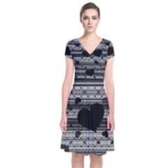 Black and Gray Abstract Hearts Wrap Dress
