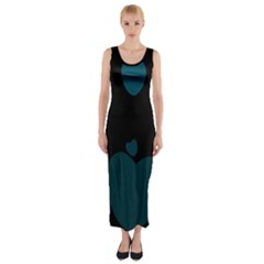 Teal Hearts Fitted Maxi Dress