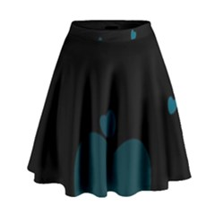 Teal Hearts High Waist Skirt