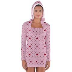 Heart Squares Women s Long Sleeve Hooded T Shirt