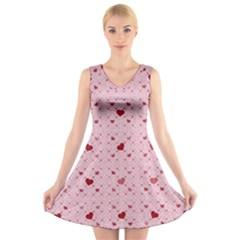 Heart Squares V-Neck Sleeveless Skater Dress