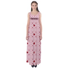 Heart Squares Empire Waist Maxi Dress