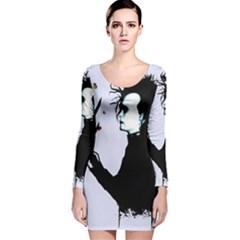 I m Not Finished Long Sleeve Velvet Bodycon Dress