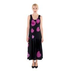 Pink Hearts Sleeveless Maxi Dress