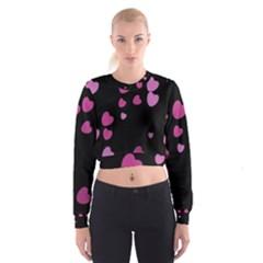 Pink Hearts Women s Cropped Sweatshirt