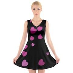 Pink Hearts V-Neck Sleeveless Skater Dress