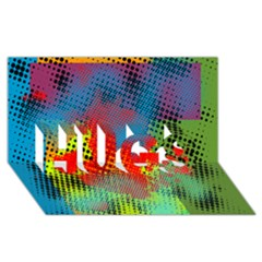 Tiling Lines 5 HUGS 3D Greeting Card (8x4)