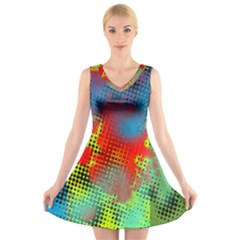 Tiling Lines 5 V-Neck Sleeveless Skater Dress