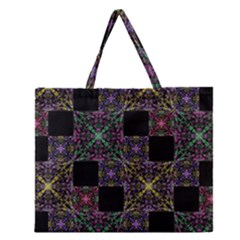 Ornate Boho Patchwork Zipper Large Tote Bag