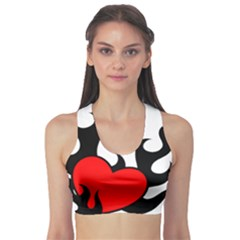 Black And Red Flaming Heart Sports Bra