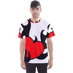 Black And Red Flaming Heart Men s Sport Mesh Tee