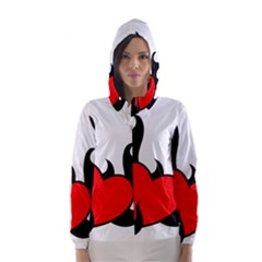 Black And Red Flaming Heart Hooded Wind Breaker (Women)