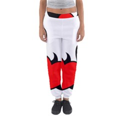 Black And Red Flaming Heart Women s Jogger Sweatpants