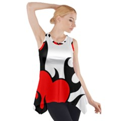 Black And Red Flaming Heart Side Drop Tank Tunic