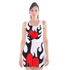 Black And Red Flaming Heart Scoop Neck Skater Dress