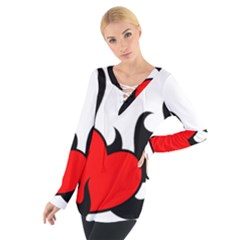Black And Red Flaming Heart Women s Tie Up Tee