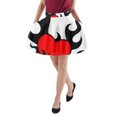 Black And Red Flaming Heart A-Line Pocket Skirt