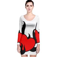 Black And Red Flaming Heart Long Sleeve Velvet Bodycon Dress