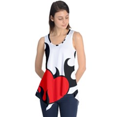 Black And Red Flaming Heart Sleeveless Tunic