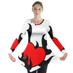 Black And Red Flaming Heart Long Sleeve Tunic
