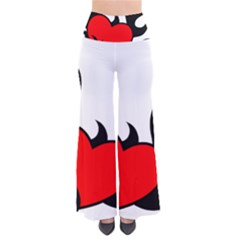Black And Red Flaming Heart Pants