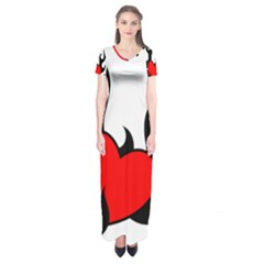 Black And Red Flaming Heart Short Sleeve Maxi Dress
