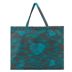 Camo Hearts Zipper Large Tote Bag