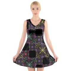 Ornate Boho Patchwork V-Neck Sleeveless Skater Dress