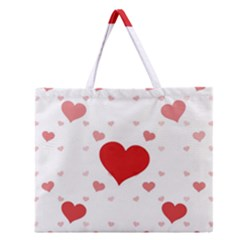 Centered Heart Zipper Large Tote Bag