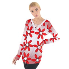 Red Bora Flower Women s Tie Up Tee