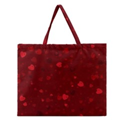 Glitter Hearts Zipper Large Tote Bag