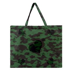 Green Camo Hearts Zipper Large Tote Bag