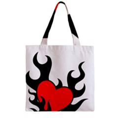 Black And Red Flaming Heart Zipper Grocery Tote Bag
