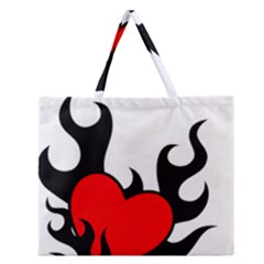 Black And Red Flaming Heart Zipper Large Tote Bag