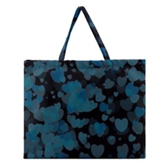 Turquoise Hearts Zipper Large Tote Bag