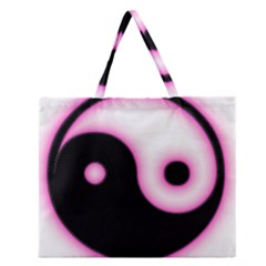 Yin Yang Glow Zipper Large Tote Bag