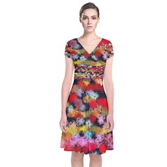 Colorful brush strokes            Short Sleeve Front Wrap Dress