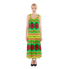 Circles And Waves                                              Full Print Maxi Dress