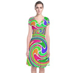 Colorful whirlpool watercolors               Short Sleeve Front Wrap Dress