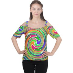 Colorful whirlpool watercolors                                                Women s Cutout Shoulder Tee
