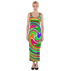 Colorful Whirlpool Watercolors                                                Fitted Maxi Dress