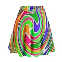 Colorful Whirlpool Watercolors                                                  High Waist Skirt