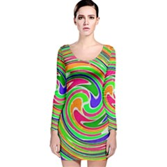 Colorful whirlpool watercolors                                                Long Sleeve Velvet Bodycon Dress